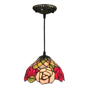 8inch European Pastoral Retro Style Pendant Light Colorful Rose Pattern Glass Shade Bedroom Living Room Kitchen Light