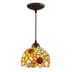 8inch European Pastoral Retro Style Pendant Light Sunflower Pattern Glass Shade Bedroom Living Room Kitchen Light