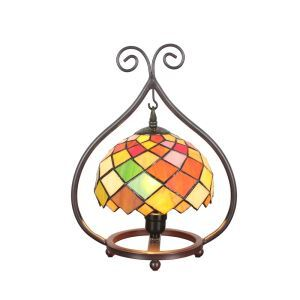 European Pastoral Retro Style Table Lamp Colorful Diamond Pattern Metal Frame Bedroom Living Room Dining Room Lights 8inch Lampshade