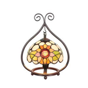 European Pastoral Retro Style Table Lamp Colorful Flower Pattern Metal Frame Bedroom Living Room Dining Room Lights 8inch Lampshade
