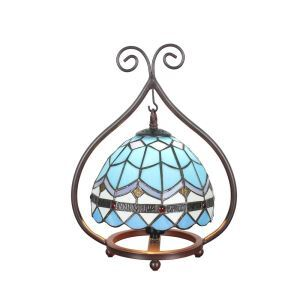 European Pastoral Retro Style Table Lamp Light Blue Pattern Metal Frame Bedroom Living Room Dining Room Lights 8inch Lampshade