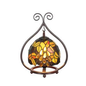 European Pastoral Retro Style Table Lamp Grape Pattern Metal Frame Bedroom Living Room Dining Room Lights 8inch Lampshade