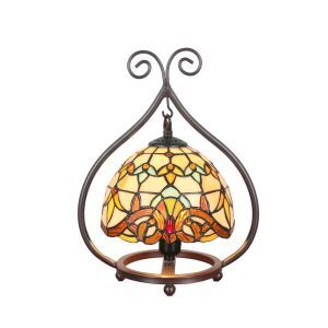 European Pastoral Retro Style Table Lamp Colorful Pattern Metal Frame Bedroom Living Room Dining Room Lights 8inch Lampshade