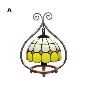 European Pastoral Retro Style Table Lamp Colorful Grid Pattern Metal Frame Bedroom Living Room Dining Room Lights 8inch Lampshade