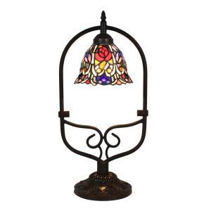 European Pastoral Retro Style Table Lamp Colorful Flower Pattern Arched Metal Frame Bedroom Living Room Dining Room Lights 8inch Lampshade