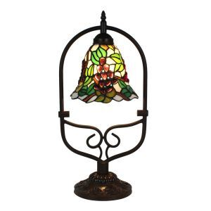 European Pastoral Retro Style Table Lamp Grape Pattern Arched Metal Frame Bedroom Living Room Dining Room Lights 8inch Lampshade
