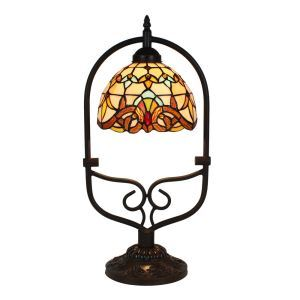 European Pastoral Retro Style Table Lamp Colorful Pattern Arched Metal Frame Bedroom Living Room Dining Room Lights 8inch Lampshade