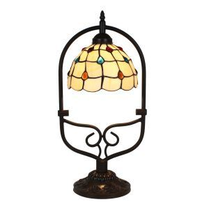 European Pastoral Retro Style Table Lamp Colorful Gem Pattern Arched Metal Frame Bedroom Living Room Dining Room Lights 8inch Lampshade