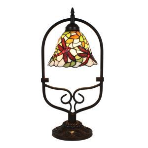 European Pastoral Retro Style Table Lamp Red Dragonfly Pattern Arched Metal Frame Bedroom Living Room Dining Room Lights 8inch Lampshade