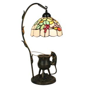 European Pastoral Retro Style Table Lamp Pilfering Cat Modeling Base Grape Pattern Bedroom Living Room Dining Room Lights 8inch Lampshade
