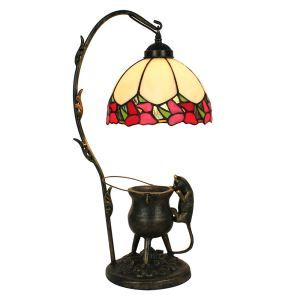 European Pastoral Retro Style Table Lamp Pilfering Cat Modeling Base Red Edge Bedroom Living Room Dining Room Lights 8inch Lampshade