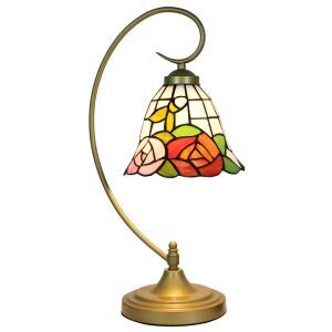 European Pastoral Retro Style Table Lamp Metal Bending Pipe Round Base Rose Pattern Bedroom Living Room Dining Room Lights 8inch Lampshade