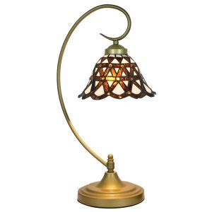 European Pastoral Retro Style Table Lamp Metal Bending Pipe Round Base Brown Pattern Bedroom Living Room Dining Room Lights 8inch Lampshade