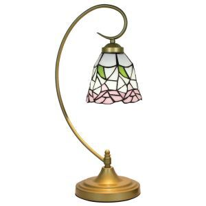 European Pastoral Retro Style Table Lamp Metal Bending Pipe Round Base Pink Flower Pattern Bedroom Living Room Dining Room Lights 8inch Lampshade