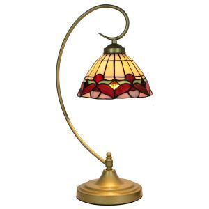 European Pastoral Retro Style Table Lamp Metal Bending Pipe Round Base Red Edge Pattern Bedroom Living Room Dining Room Lights 8inch Lampshade