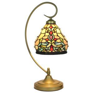 European Pastoral Retro Style Table Lamp Metal Bending Pipe Round Base Colorful Pattern Bedroom Living Room Dining Room Lights 8inch Lampshade