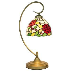 European Pastoral Retro Style Table Lamp Metal Bending Pipe Round Base Red Rose Pattern Bedroom Living Room Dining Room Lights 8inch Lampshade
