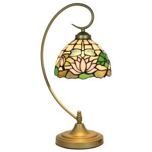 European Pastoral Retro Style Table Lamp Metal Bending Pipe Round Base Dragonfly Lotus Pattern Bedroom Living Room Dining Room Lights 8inch Lampshade