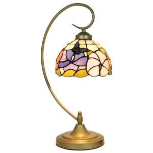 European Pastoral Retro Style Table Lamp Metal Bending Pipe Round Base Butterfly Flower Pattern Bedroom Living Room Dining Room Lights 8inch Lampshade
