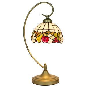 European Pastoral Retro Style Table Lamp Metal Bending Pipe Round Base Colorful Fruit Pattern Bedroom Living Room Dining Room Lights 8inch Lampshade