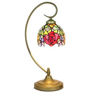 European Pastoral Retro Style Table Lamp Metal Bending Pipe Round Base Colorful Flower Pattern Bedroom Living Room Dining Room Lights 8inch Lampshade