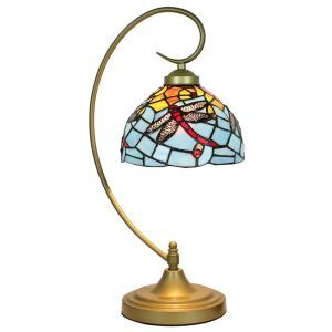 European Pastoral Retro Style Table Lamp Metal Bending Pipe Round Base Red Dragonfly Pattern Bedroom Living Room Dining Room Lights 8inch Lampshade