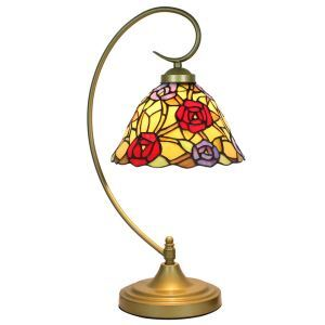 European Pastoral Retro Style Table Lamp Metal Bending Pipe Round Base Colorful Rose Pattern Bedroom Living Room Dining Room Lights 8inch Lampshade