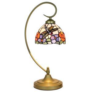 European Pastoral Retro Style Table Lamp Metal Bending Pipe Round Base Dragonfly Gathering Flower Pattern Bedroom Living Room Dining Room Lights 8inch Lampshade