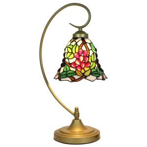 European Pastoral Retro Style Table Lamp Metal Bending Pipe Round Base Grape Pattern Bedroom Living Room Dining Room Lights 8inch Lampshade