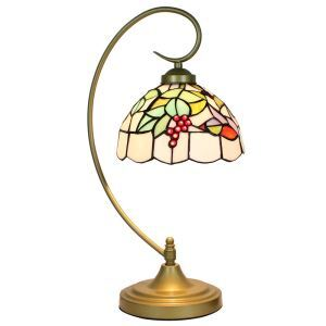 European Pastoral Retro Style Table Lamp Metal Bending Pipe Round Base Red Fruit Pattern Bedroom Living Room Dining Room Lights 8inch Lampshade