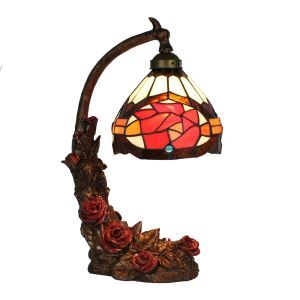 European Pastoral Retro Style Table Lamp Red Rose Resin Base Colorful Pattern Bedroom Living Room Dining Room Lights 8inch Lampshade