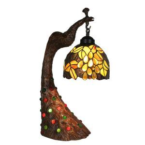 European Pastoral Retro Style Table Lamp Peacock Resin Base Grape Pattern Bedroom Living Room Dining Room Lights 8inch Lampshade