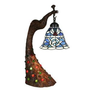 European Pastoral Retro Style Table Lamp Peacock Resin Base Blue Pattern Bedroom Living Room Dining Room Lights 8inch Lampshade