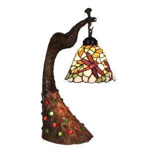 European Pastoral Retro Style Table Lamp Peacock Resin Base Red Dragonfly Pattern Bedroom Living Room Dining Room Lights 8inch Lampshade