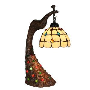 European Pastoral Retro Style Table Lamp Peacock Resin Base Colorful Gem Bedroom Living Room Dining Room Lights 8inch Lampshade
