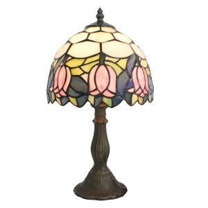 European Pastoral Retro Style Table Lamp Resin Base Pink Flower Pattern Bedroom Living Room Dining Room Lights 8inch Lampshade