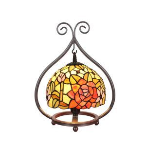 European Pastoral Retro Style Table Lamp Metal Frame Colorful Flower Pattern Bedroom Living Room Dining Room Lights 8inch Lampshade