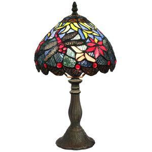 European Pastoral Retro Style Table Lamp Resin Base Dragonfly Pattern Bedroom Living Room Dining Room Lights 8inch Lampshade