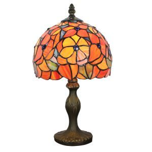 European Pastoral Retro Style Table Lamp Resin Base Orange Flower Pattern Bedroom Living Room Dining Room Lights 8inch Lampshade