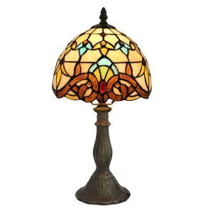 European Pastoral Retro Style Table Lamp Resin Base Colorful Pattern Bedroom Living Room Dining Room Lights 8inch Lampshade