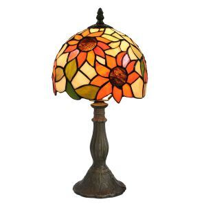 European Pastoral Retro Style Table Lamp Resin Base Sunflower Pattern Bedroom Living Room Dining Room Lights 8inch Lampshade