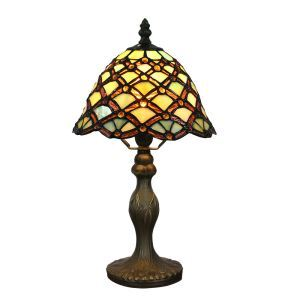 European Pastoral Retro Style Table Lamp Resin Base Brown Lines Pattern Bedroom Living Room Dining Room Lights 8inch Lampshade