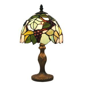 European Pastoral Retro Style Table Lamp Resin Base Grape Pattern Bedroom Living Room Dining Room Lights 8inch Lampshade
