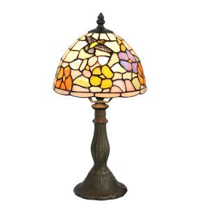 European Pastoral Retro Style Table Lamp Resin Base Hummingbird Gathering Flower Pattern Bedroom Living Room Dining Room Lights 8inch Lampshade
