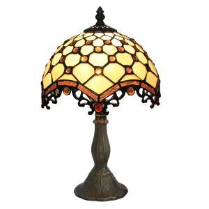 European Pastoral Retro Style Table Lamp Resin Base Embedding Beads Grid Pattern Bedroom Living Room Dining Room Lights 8inch Lampshade