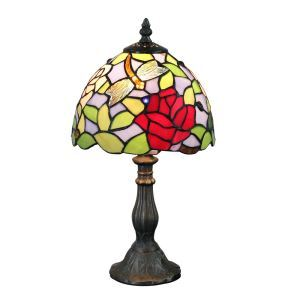 European Pastoral Retro Style Table Lamp Resin Base Dragonfly and Red Flower Pattern Bedroom Living Room Dining Room Lights 8inch Lampshade