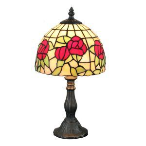 European Pastoral Retro Style Table Lamp Resin Base Red Flower Pattern Bedroom Living Room Dining Room Lights 8inch Lampshade