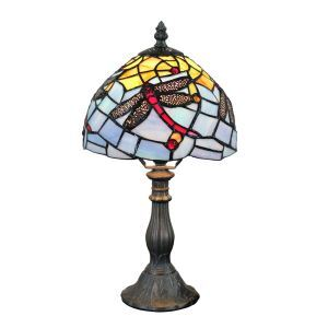 European Pastoral Retro Style Table Lamp Resin Base Red Dragonfly Pattern Bedroom Living Room Dining Room Lights 8inch Lampshade