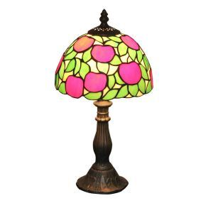European Pastoral Retro Style Table Lamp Resin Base Apple Pattern Bedroom Living Room Dining Room Lights 8inch Lampshade