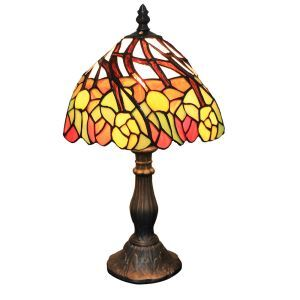 European Pastoral Retro Style Table Lamp Resin Base Colorful Leaves Pattern Bedroom Living Room Dining Room Lights 8inch Lampshade